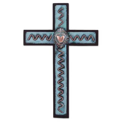 Bronze, copper, and cedar wall cross, 'Celestial Heart' - Peruvian Cedar Wall Cross Decorated with Bronze and Copper