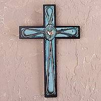 Bronze, copper and wood wall cross, 'Divine Heart' - Bronze and Copper Wooden Wall Cross with Sacred Heart Motif