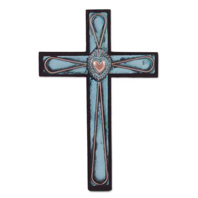 Bronze and Copper Wooden Wall Cross with Sacred Heart Motif
