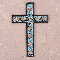 Bronze, copper and wood wall cross, 'Glorious Heart'