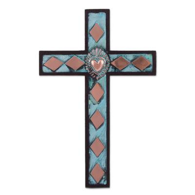 Bronze, copper and wood wall cross, 'Glorious Heart' - Peruvian Bronze, Copper and Wood Wall Cross with Rhombuses