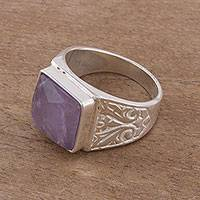 Amethyst cocktail ring, 'Colonial Gleam' - Square Amethyst and Sterling Silver Cocktail Ring from Peru