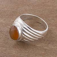 Agate cocktail ring, 'Glittering Power' - Oval Agate and Sterling Silver Cocktail Ring from Peru