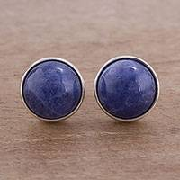 Sodalite stud earrings, 'Blue Elysium'