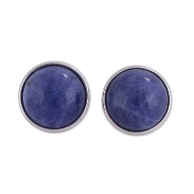 Sodalite stud earrings, 'Blue Elysium' - Circular Natural Sodalite Stud Earrings from Peru