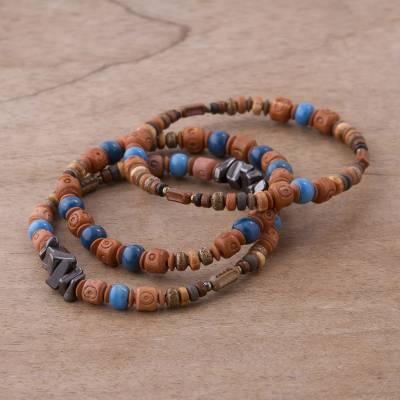 Novica Hematite and ceramic beaded stretch bracelets, Andean Eyes (set of 3)