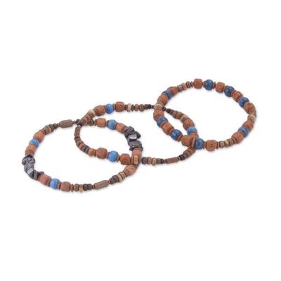 Three Hematite and Ceramic Beaded Bracelets in Earth Tones