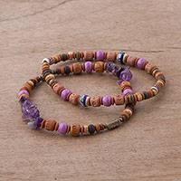 Amethyst, glass and ceramic beaded stretch bracelets, 'Andean Joy' (pair) - Two Amethyst and Ceramic Beaded Stretch Bracelets from Peru