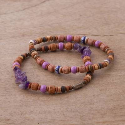 Amethyst and ceramic beaded stretch bracelets, Andean Joy (pair)