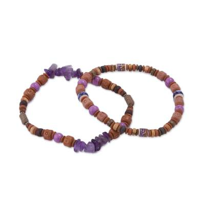 Two Amethyst and Ceramic Beaded Stretch Bracelets from Peru