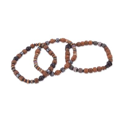 Set of Three Black Onyx Hematite Ceramic Beaded Stretch Bracelets
