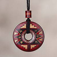 Ceramic pendant necklace, 'Mettle' - Peruvian Ceramic Pendant Necklace in Red Black and Gold