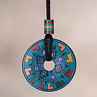 Ceramic pendant necklace, 'Garden of the Sun' - Hand Painted Blue Multicolored Ceramic Pendant Necklace