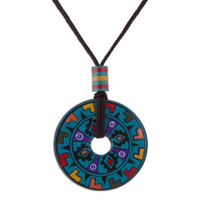 Hand Painted Blue Multicolored Ceramic Pendant Necklace