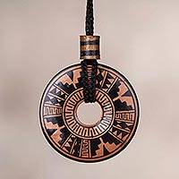 Ceramic pendant necklace, 'Copper Queen' - Peruvian Ceramic Pendant Necklace in Black and Copper Colors