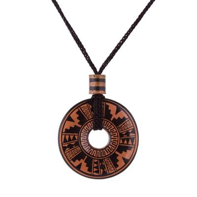 Peruvian Ceramic Pendant Necklace in Black and Copper Colors