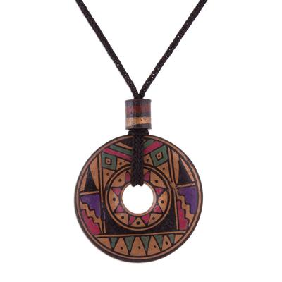 Peruvian Handmade Ceramic Pendant Necklace in Jewel Tones