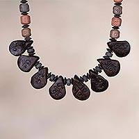 Ceramic beaded pendant necklace, 'Peruvian Coffee' - Ceramic Beaded Pendant Necklace with Coffee Bean Motif