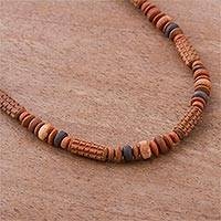 Ceramic beaded necklace, 'Andean Corn' - Ceramic Beaded Necklace with Maize Motif from Peru
