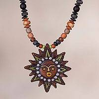 Ceramic pendant necklace, 'The Sun God' - Handcrafted Ceramic Bead and Sun Pendant Necklace from Peru