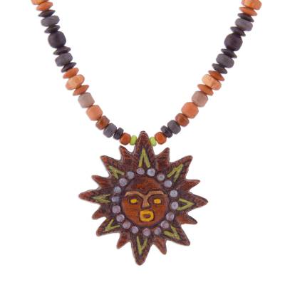 Handcrafted Ceramic Bead and Sun Pendant Necklace from Peru