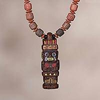 Ceramic beaded pendant necklace, 'Ancient Order' - Brown Inca Deity Ceramic Beaded Pendant Necklace from Peru