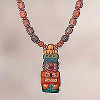 Ceramic pendant necklace, 'Andes Mountain Deity' - Sterling Silver and Ceramic Beaded Incan Pendant Necklace