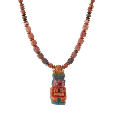 Sterling Silver and Ceramic Beaded Incan Pendant Necklace