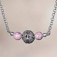 Rhodonite filigree pendant necklace, 'Pink Royalty'