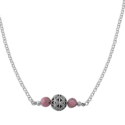 Rhodonite filigree pendant necklace, 'Pink Royalty' - Rhodonite Filigree Pendant Necklace from Peru