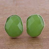 Aventurine button earrings, 'Glittering Garden' - Green Aventurine and Silver Button Earrings from Peru