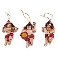 Ceramic ornaments, 'Musical Angels' - Andean Musical Angel Ceramic Ornaments (Set of 3)
