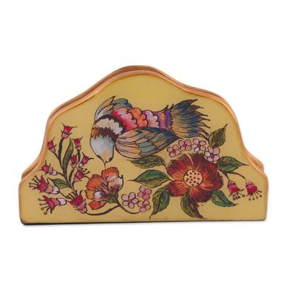 Bird-Themed Reverse Painted Glass Napkin Holder from Peru