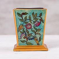 Reverse-painted glass pencil holder, 'Flowering Companion' - Handcrafted Reverse-Painted Glass Pencil Holder from Peru