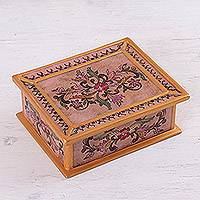 Reverse painted glass decorative box, 'Rose Enchantment' - Reverse Painted Glass Decorative Box in Pink from Peru