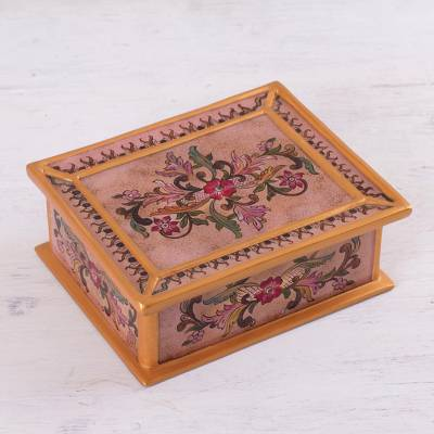 Reverse-painted glass decorative box, 'Rose Enchantment' - Reverse-Painted Glass Decorative Box in Pink from Peru