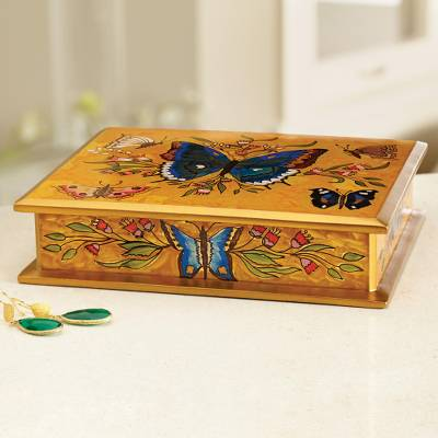 Reverse Painted Glass on Wood Jewelry Box with Butterflies