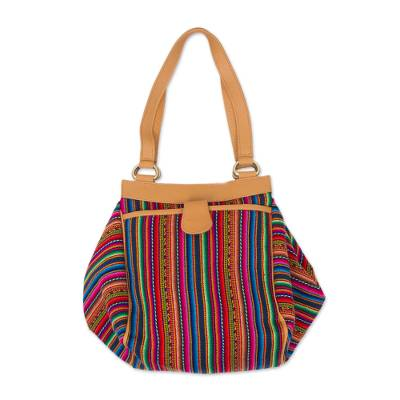 Novica Leather accent wool blend shoulder bag, Incan Paths