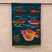 Wool tapestry, 'Colorful Aquarium' - Handwoven Wool Fish Tapestry from Peru