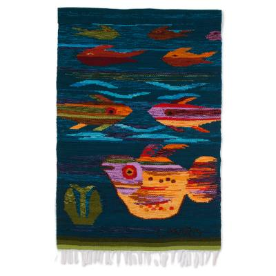 Handwoven Wool Fish Tapestry from Peru