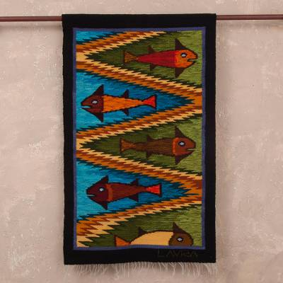 Wool tapestry, 'Andean Fish' - Fish-Themed Wool Tapestry from Peru