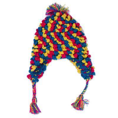 Hand-Crocheted Colorful Alpaca Blend Chullo Hat from Peru
