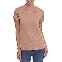 100% organic cotton t-shirt, 'Natural Sensation' - Caramel Colored 100% Organic Cotton Short Sleeved T-Shirt