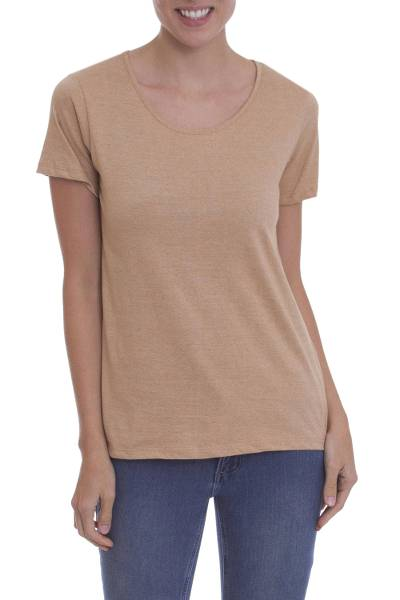 fe202028c09b7 Caramel Colored 100% Organic Cotton Short Sleeved T-Shirt - Natural ...