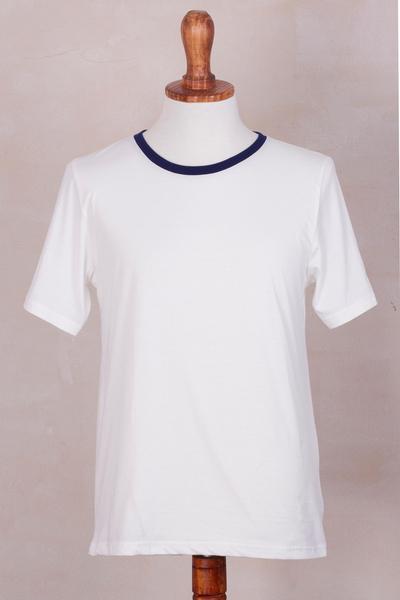 Men 39 s 100 peruvian pima cotton white and blue t shirt for Peruvian cotton t shirts