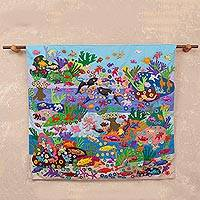 Cotton blend arpillera wall hanging, 'Siren Song' - Cotton Blend Arpillera Wall Hanging of Mermaids and Sea Life