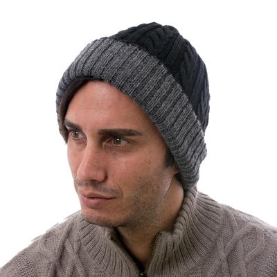 Reversible 100% alpaca hat, 'Warm and Cozy' - Peruvian 100% Alpaca Reversible Black and Grey Ribbed Hat