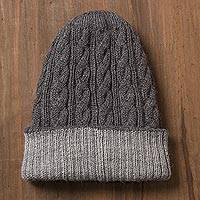Reversible 100% alpaca hat, 'Warm and Toasty' - Light and Dark Grey Reversible 100% Alpaca Hat from Peru