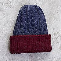 Reversible 100% alpaca hat, 'Warm and Snug' - Cranberry and Blue 100% Alpaca Reversible Knit Hat from Peru