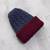 Reversible 100% alpaca hat, 'Warm and Snug' - Cranberry and Blue 100% Alpaca Reversible Knit Hat from Peru (image 2e) thumbail